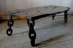 wood slab table | Artisan Shipwreck Exotic Wood Slab Table Bench