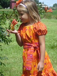Custom Orange Floral Peasant Dress with by PigtailsNPetticoats, $32.00