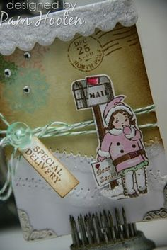 Stamped ATC by Pam Hooten using Christmas Mail Clear Art Stamp Set by Crafty Secrets