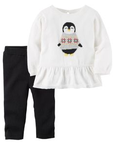 Baby Girl 2-Piece Penguin Top & Pant Set from Carters.com. Shop clothing & accessories from a trusted name in kids, toddlers, and baby clothes.