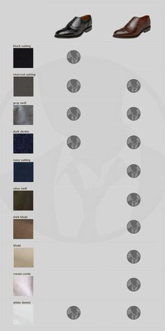 Black or Brown? A visual guide to the ideal shoe & suit color pairing Via