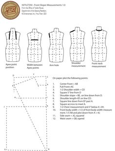 Production Instruction: Front and Back Sloper Pattern – Sewing Rebellion Craft Tutorials, Sewing Tutorials, Sewing Projects, Tutorial Sewing, Sewing Lessons, Sewing Hacks, Sewing Tips, Pattern Cutting, Pattern Making
