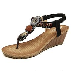 Womail 2016 Fashion Summer Atificial Gem Flowers Beaded Vintage Sandals Clip Toe Sandals Beach Shoes 5cm (36, Black) ** Read more  at the image link.