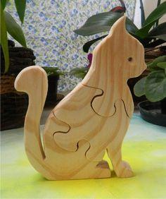 Quebra cabeça em madeira - Gato