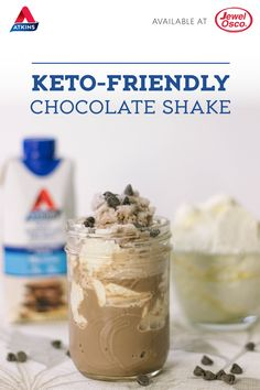 healthy chocolate shakes This post is sponsored by Atkins Nutritionals, Inc. All thoughts and opinions are my own. Mike and I are both still going strong on the keto diet. We are both down over 25 pounds and Healthy Chocolate Shakes, Low Carb Chocolate, Chocolate Desserts, Keto Desserts, Atkins Desserts, Low Carb Shakes, Keto Shakes, Low Carb Menus, Low Carb Sweets