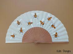 Bees Bee Wooden Hand Fan Hand-held Folding Flamenco Fabric Fan by Kate Dengra Spain by DengraDesigns on Etsy