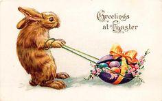 Easter 1915 Rabbit Pulling Big Easter Egg Vintage Embossed Postcard