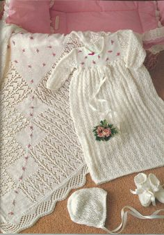 """PDF Knitting Pattern, 3Ply, Sz40 - 50 cm """"Sunny"""" Baby Christening Robe or Dress, Bonnet, Bootees & Shawl by AussieMaria on Etsy"""