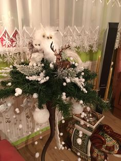 Christmas Decorations, Christmas Tree, Table Decorations, Holiday Decor, Furniture, Home Decor, Teal Christmas Tree, Homemade Home Decor, Christmas Decor