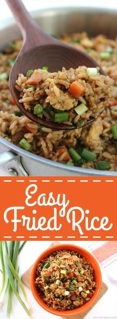 This super Easy Fried Rice Recipe can be made in just a few minutes time. Enjoy … This super Easy Fried Rice Recipe can be made in just a few minutes time. Enjoy it as is or add in some chicken, pork, or even shrimp. Great meal or side dish. Easy Rice Recipes, Asian Recipes, Healthy Recipes, Easy Rice Dishes, Fried Rice Recipes, Easy Chinese Food Recipes, Chinese Rice Recipe, Leftover Rice Recipes, Cheap Recipes