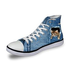 HUGSIDEA Cute Denim Cat Print Women Blue Jeans Sneakers Fashion High Top Canvas Shoes US8 * Click image to review more details.