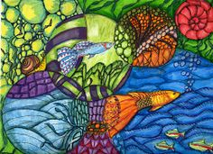 Mixed Media Zentangle/Doodles in Circles with fish