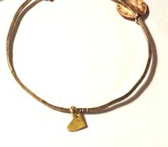 Gold Solid Heart and Charm Bangle www.zahavah.com