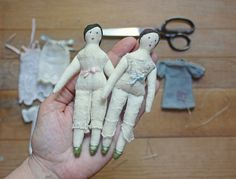 tiny rag dolls, ann wood handmade