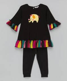Take a look at the Little Dreamers by Victoria Kids Black Elephant Ruffle Swing Tunic & Leggings - Infant, Toddler & Kids on #zulily today!