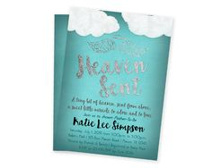 Get the rustic style Heaven Sent Baby Shower Invitations you've been looking for, for your little man is on the way baby shower! This turquoise