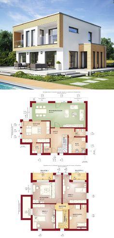 Bauhaus Stadtvilla modern mit Flachdach und Erker Anbau - Einfamilienhaus Grundriss Evolution 154 V8 Bien Zenker Fertighaus - HausbauDirekt.de