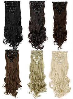 """S-noilite®17""""24"""" Long Curly Wavy Clip in on 8 Pieces Full Head Set Hair Extensions 8pcs Hairpiece Extension Many Colors for Girl Lady Women Hairstylevids - Videos, Tutorials, Discounts #hair #hairstyle #hairdo #hairproduct"""