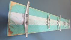 Cottage Chic Recycled Boat Cleat Towel Hooks Turquoise and White Upcycled Nautical Seashore Decor Ocean Decor Beach Decor Lake House by StarfishEnterprises on Etsy https://www.etsy.com/listing/158752471/cottage-chic-recycled-boat-cleat-towel