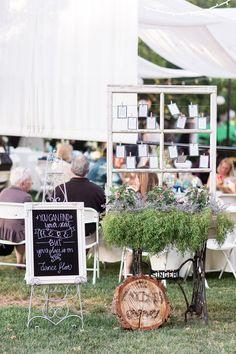 Outdoor Reception Decor Chalkboard Sign Window Table Assignments | White-Ranch-Wedding-Photographer-Chico-California-TréCreative