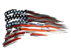 Our American flags are made from the highest quality American Steel. Three stage powder coat enhances the steel grain in the patriotic colors. The tattered Flag being made from steel allows us to put the American burning spirit in to each flag a.