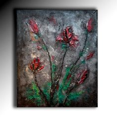 Textured Acrylic Painting Red Flower Abstract Rich textured Unique Fine art Wall Art on canvas contemporary art