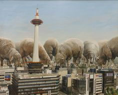 Searching for Paradise is a series of oil paintings made by Japanese artist Shuichi Nakano. His surreal canvases depict pack of giant animals overhanging citysc Photomontage, Illustrations, Illustration Art, Paradise Painting, Work In Japan, Japon Tokyo, Giant Animals, Sweet Station, Shock And Awe