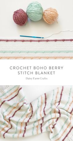Free Pattern - Crochet Boho Berry Stitch Blanket #crochet