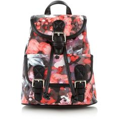 fd231510f8 Black floral mini backpack ( 19) ❤ liked on Polyvore featuring bags