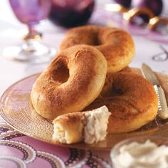 Eggnog Bagels Recipe from Taste of Home -- The fantastic spiced spread complements the cinnamon-sugar goodies.