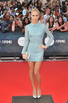 Laura Vandervoort Beaded Dress - Laura Vandervoort looked super cool at the MuchMusic Video Awards in a beaded blue mini by the 2nd Skin Co.