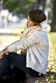 Neutrals | Cream chunky knit sweater by Zara, off white oversized scarf by Acne, Ripped skinny jeans by Topshop.
