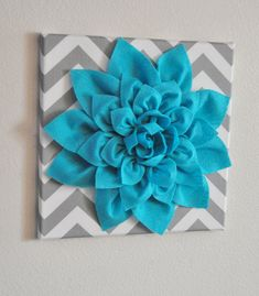 "Want some w pink and some w green flowers!!!    Wall Flower -Light Turquoise Dahlia on Gray and White Chevron 12 x12"" Canvas Wall Art- Baby Nursery Wall Decor-. $34.00, via Etsy."