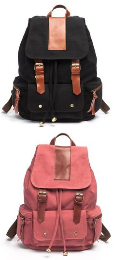 Which color do you like? Retro Nice Big Leather Travel Canvas Backpacks #backpack #canvas #leather #bag #travel
