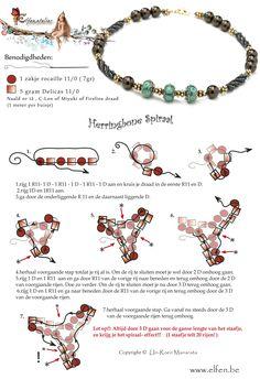 Herringbone Spiraal met Rocailles en Delicas. Algewerkt met Handgemaakte kralen en Swarovski Elementen. www.elfen.be