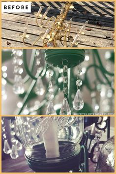 upcycled and updated chandelier