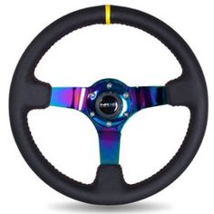 NRG 3 DEEP DISH SPORT STEERING WHEEL-BLK LEATHER-RED STITCH - NRG-ST036MCY