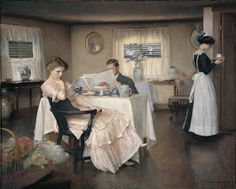 The Breakfast, William McGregor Paxton, 1911 - Please, see the expression of the lady... She is not there... She is away... (MP)