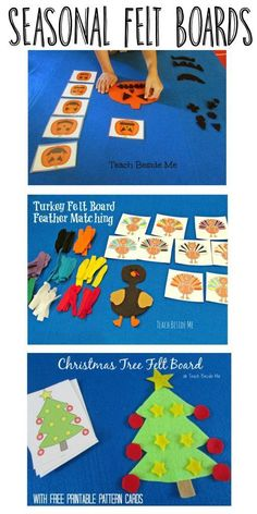 We have been enjoying our holiday felt boards the past few months. My kids get really excited with each new one I create for them.  This week we made a Christmas Tree felt board with printable cards to use in making fun felt Christmas patterns with trees.