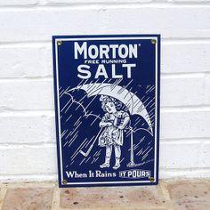 Vintage Porcelain Sign Vintage Morton Salt Sign by timepassages, $48.00