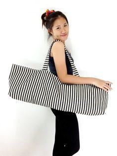 Handmade Yoga Mat Bag Striped Denim Yoga Bag #bagsandpurses @EtsyMktgTool http://etsy.me/2yhCVlT #bagsandpurses #totebag #yogamatbags