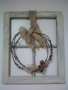 Window frame barbed wire christmas wreath