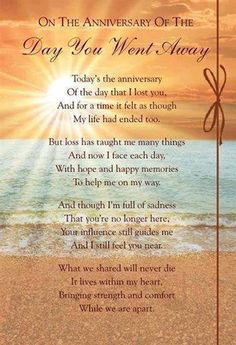 On the anniversary of the day you went away....