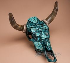 Turquoise Overlaid Painted Steer Skull 18x19  (ps77)