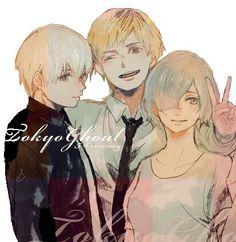 Kaneki, Touka, & their bff Hide <3 (my edit) ^^