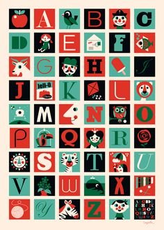 Affiche Ingela Arrhenius - De A à Z - Omm Design, Mes Habits Chéris - kidstore Récréatif - Décoration enfant