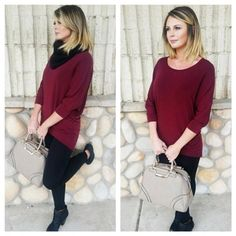 New arrivals!! This outfit is so perfect with our wine sweater top $26.95, black chunky knit scarf $14.95, and taupe handbag $55.95.| Lashes by Brea | Come in and see what else is new in the boutique today!! ❤️ #seasonsboutique #shopseasons #Padgram