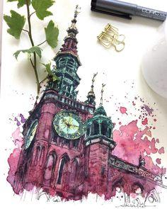 "8,087 Me gusta, 194 comentarios - Akihito Horigome (@horiaki2) en Instagram: ""ポーランド・グダニスク旧市庁舎 — Main Town Hall , Gdansk , Poland  #水彩画 #スケッチ #watercolor #watercolour…"""