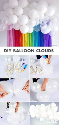 balloon arch DIY Baby Shower Balloon Clouds How To - - Baby Shower Balloon Decorations, Rainbow Decorations, Diy Birthday Decorations, Baby Shower Balloons, Shower Baby, Balloon Ideas, Diy Shower, Trolls Birthday Party, Rainbow Birthday Party