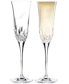 Waterford Lismore monogram toasting flutes engraved with your new initial, we'll drink to that!